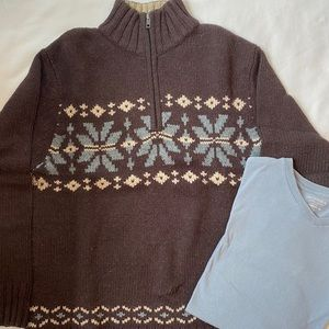 Sonoma men's brown sweater &blue long sleeve shirt